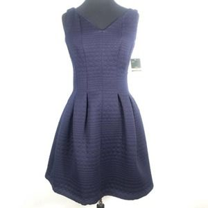 NWT Taylor Navy Blue Quilted Fit & Flare Dress